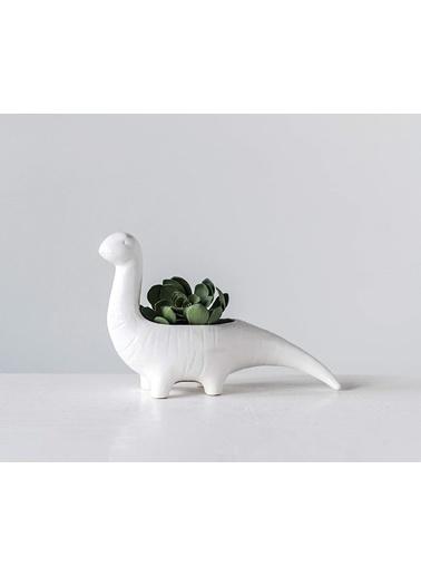 Warm Design Porselen Dinozor Saksılık Beyaz